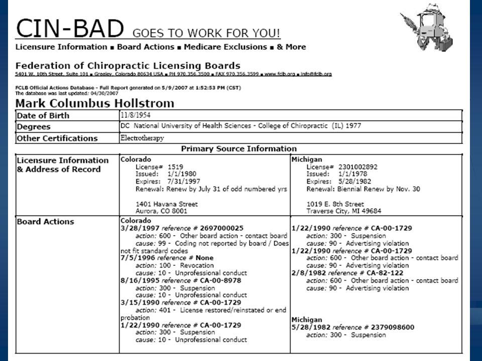 Sample CIN-BAD Report