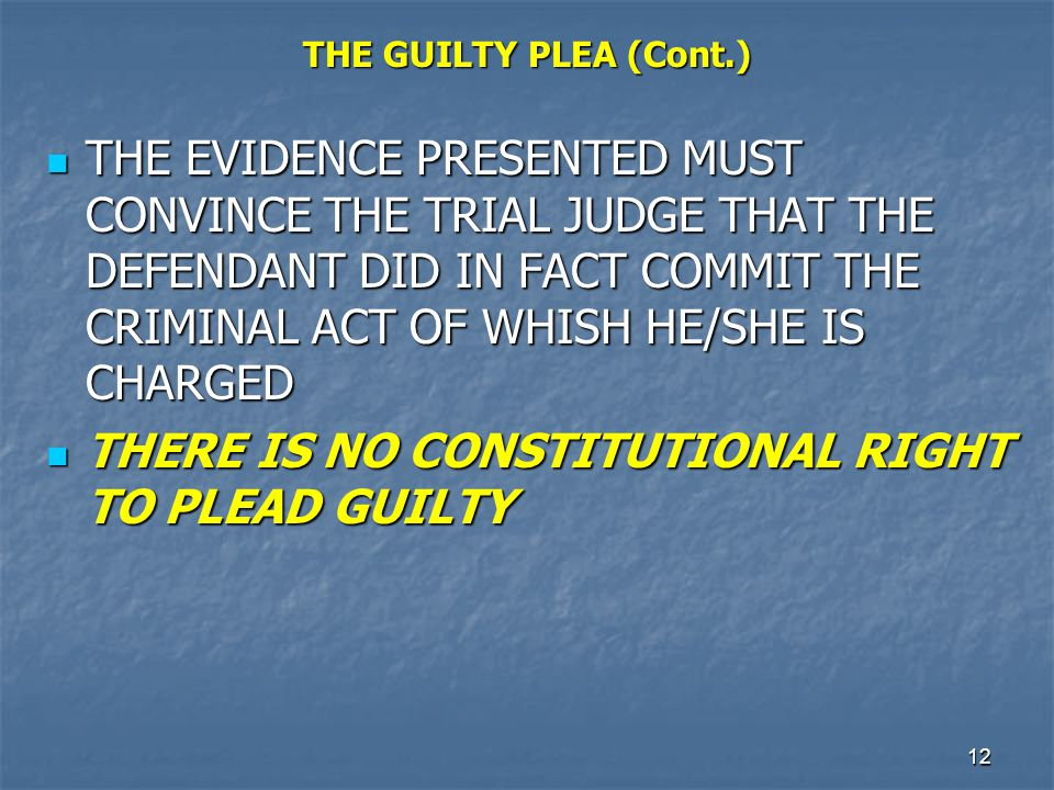 13 ALFORD PLEA THE ALFORD GUILTY PLEA PERMITS A DEFENDANT TO ENTER A GUILTY PLEA WHILE AT THE SAME TIME PROTESTING HIS INNOCENCE THE ALFORD GUILTY PLEA PERMITS A DEFENDANT TO ENTER A GUILTY PLEA WHILE AT THE SAME TIME PROTESTING HIS INNOCENCE THE SENTENCE GIVEN WOULD BE THE SAME AS THAT GIVEN FOR A REGULAR GUILTY PLEA UNDER THE STATE SENTENCING GUIDELINES THE SENTENCE GIVEN WOULD BE THE SAME AS THAT GIVEN FOR A REGULAR GUILTY PLEA UNDER THE STATE SENTENCING GUIDELINES
