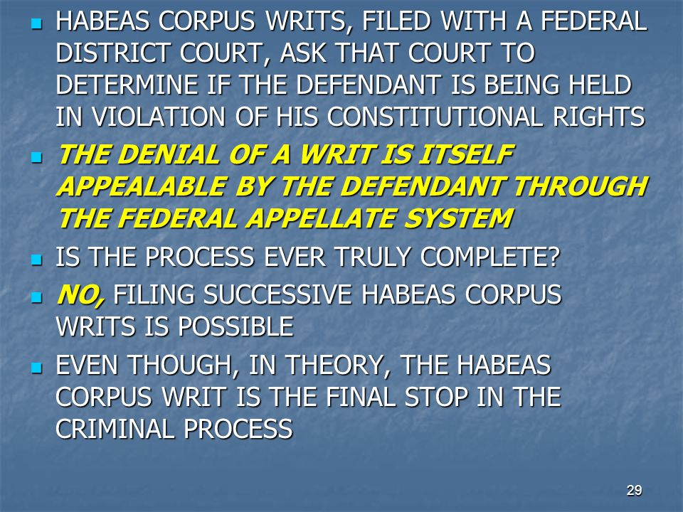 29 HABEAS CORPUS WRITS, FILED WITH A FEDERAL DISTRICT COURT, ASK THAT COURT TO DETERMINE IF THE DEFENDANT IS BEING HELD IN VIOLATION OF HIS CONSTITUTI