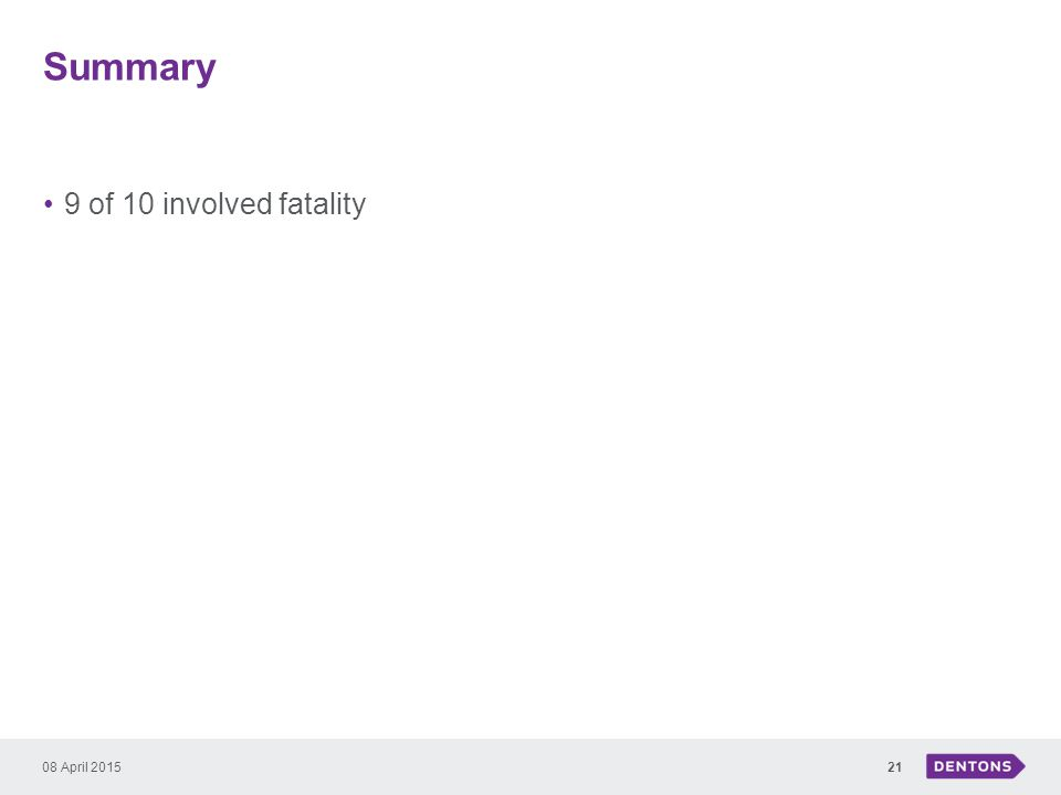 Summary 9 of 10 involved fatality 08 April 201521