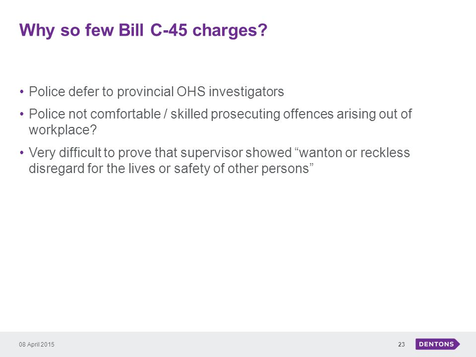 Why so few Bill C-45 charges.