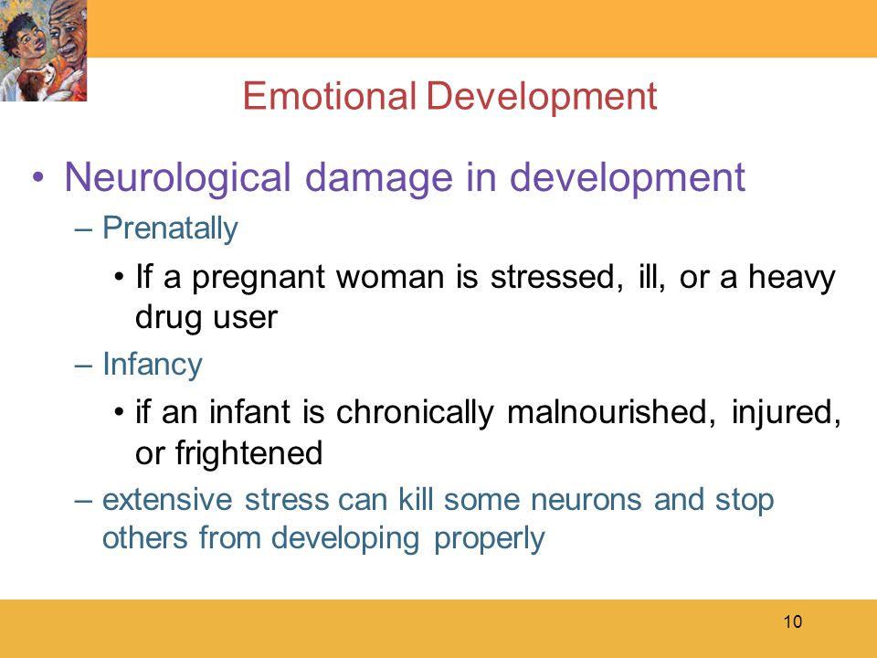 10 Emotional Development Neurological damage in development –Prenatally If a pregnant woman is stressed, ill, or a heavy drug user –Infancy if an infa