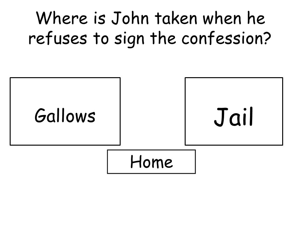 Where is John taken when he refuses to sign the confession Gallows Jail Home