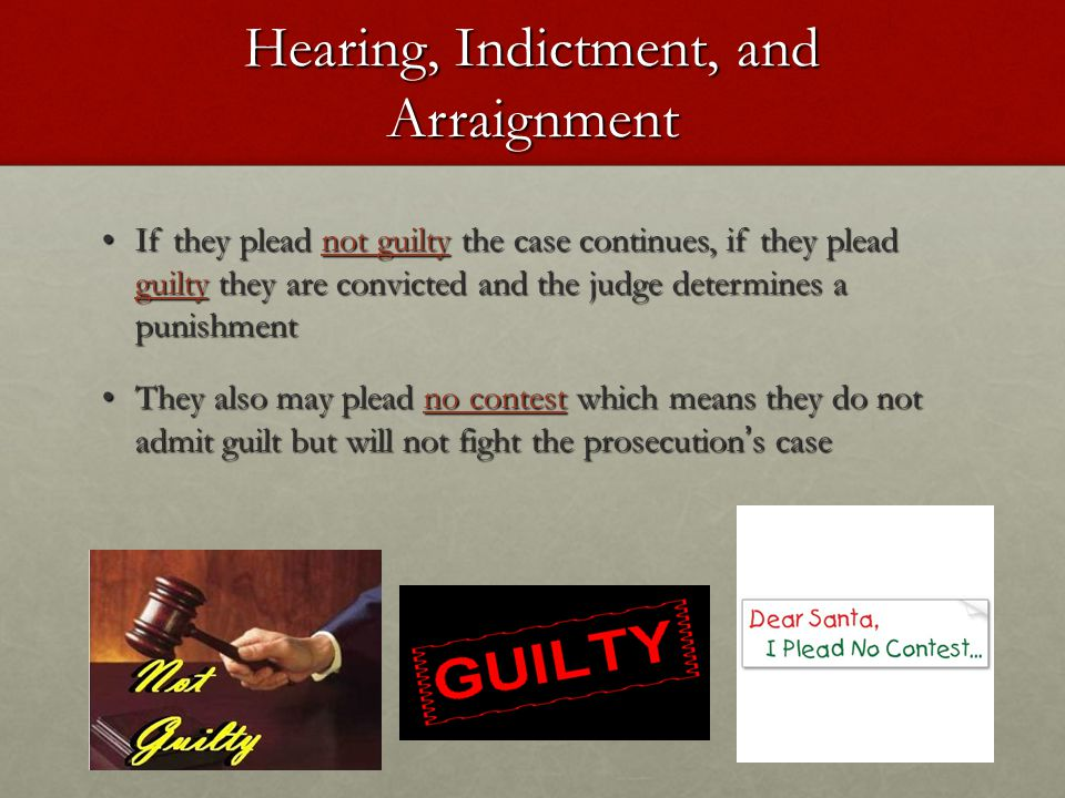 Hearing, Indictment, and Arraignment If they plead not guilty the case continues, if they plead guilty they are convicted and the judge determines a p