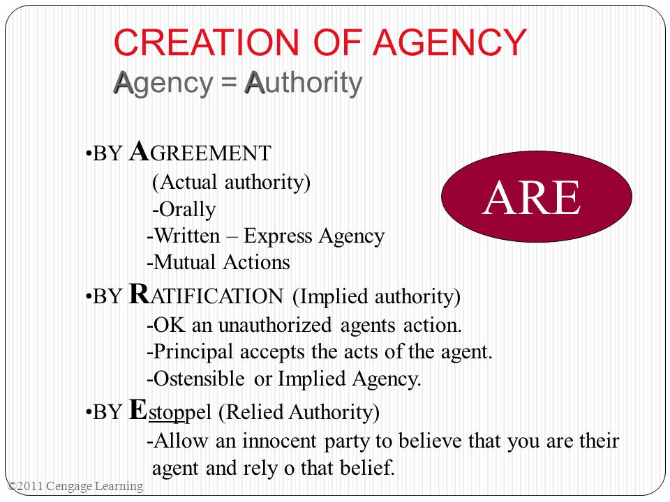AA CREATION OF AGENCY Agency = Authority ABY A GREEMENT (Actual authority) -Orally -Written – Express Agency -Mutual Actions RBY R ATIFICATION (Implie