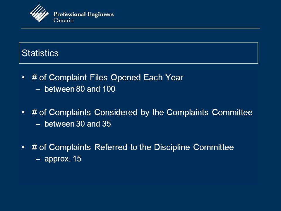 Statistics # of Complaint Files Opened Each Year –between 80 and 100 # of Complaints Considered by the Complaints Committee –between 30 and 35 # of Co