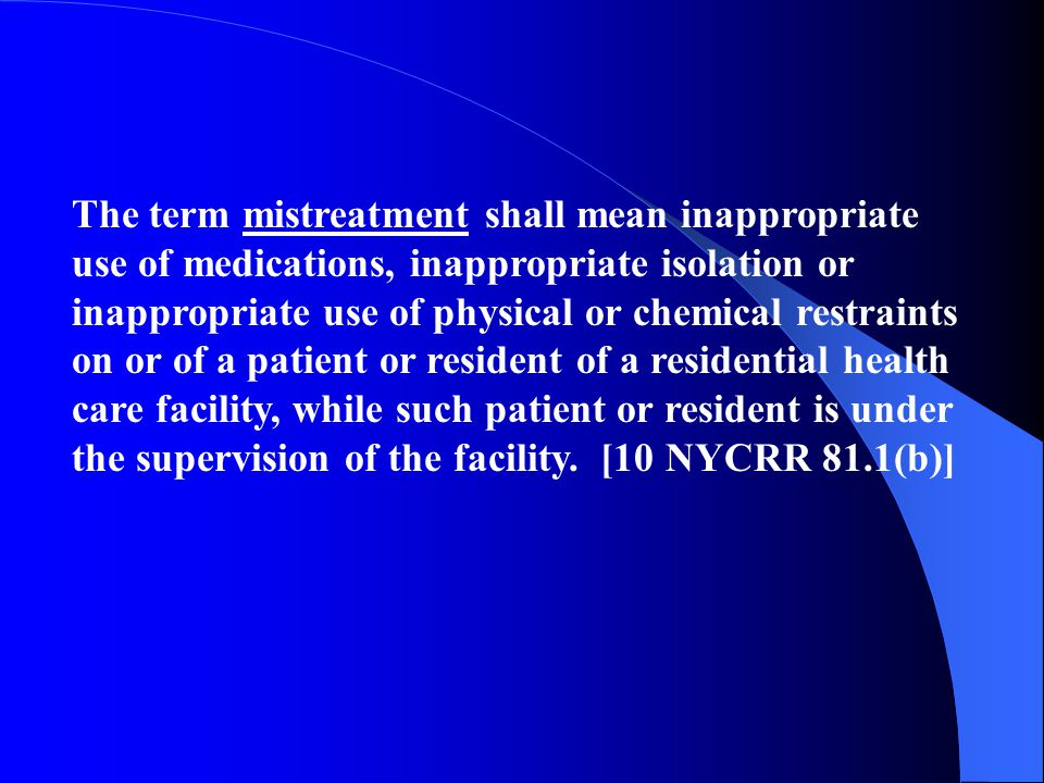 The term neglect shall mean failure to provide timely, consistent, safe, adequate and appropriate services, treatment, and/or care to a patient or res