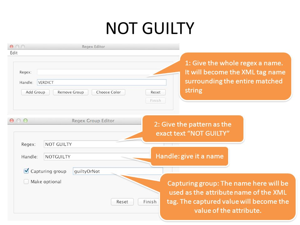 NOT GUILTY 1: Give the whole regex a name.