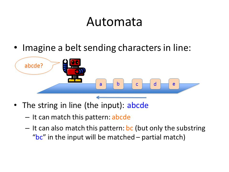 Automata Imagine a belt sending characters in line: The string in line (the input): abcde – It can match this pattern: abcde – It can also match this pattern: bc (but only the substring bc in the input will be matched – partial match) a a b b c c d d e e abcde