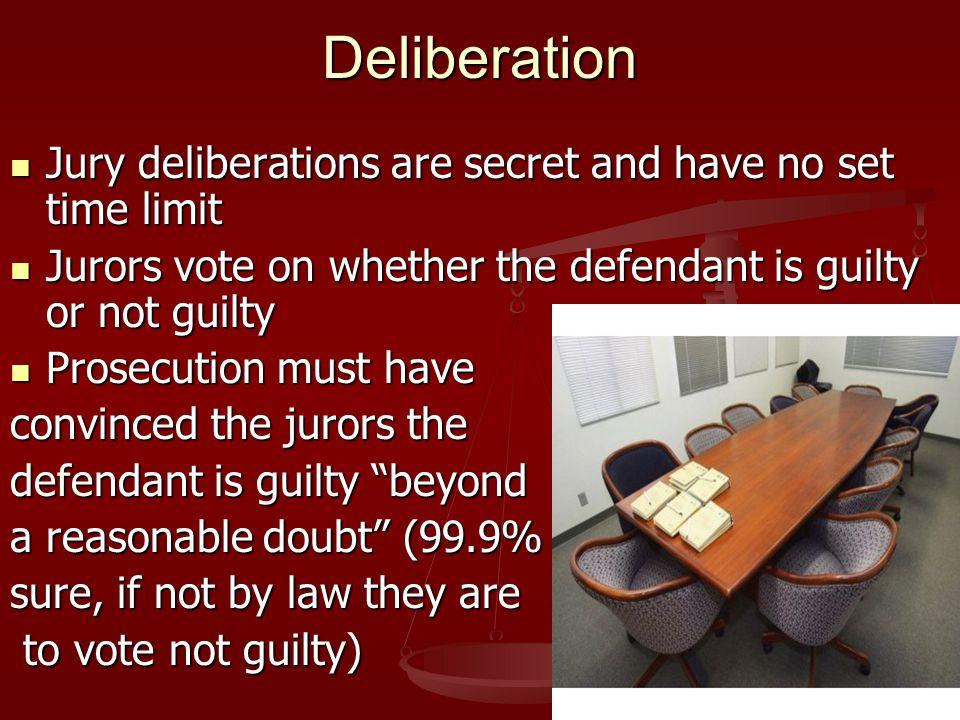 Deliberation Jury deliberations are secret and have no set time limit Jury deliberations are secret and have no set time limit Jurors vote on whether