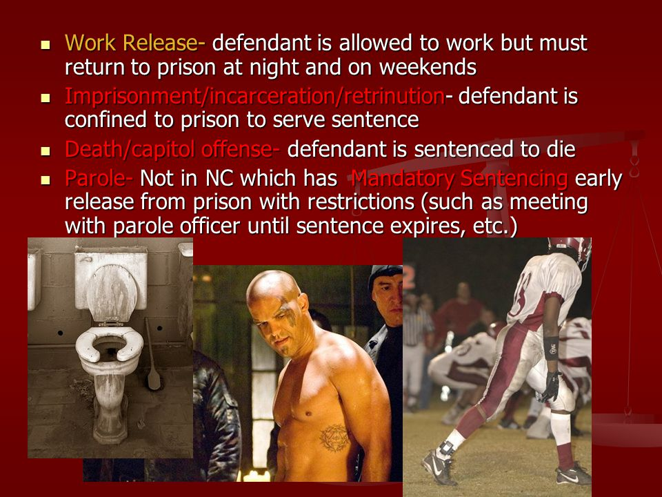 Work Release- defendant is allowed to work but must return to prison at night and on weekends Work Release- defendant is allowed to work but must retu