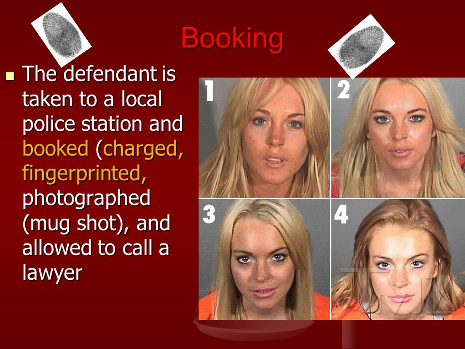 Booking The defendant is taken to a local police station and booked (charged, fingerprinted, photographed (mug shot), and allowed to call a lawyer The