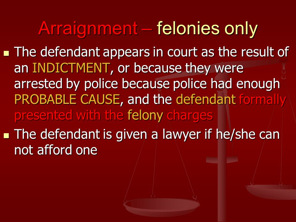 Arraignment – felonies only The defendant appears in court as the result of an INDICTMENT, or because they were arrested by police because police had