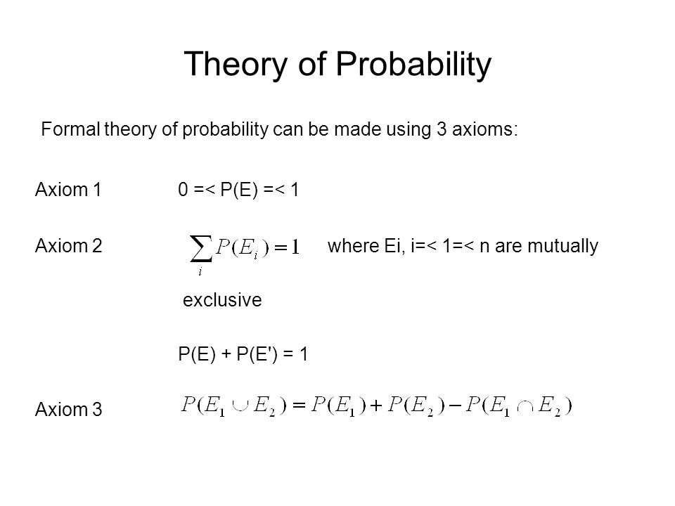 Theory of Probability Experimental or Subjective Probabilities In contrast to the prior approach, experimental probability defines the probability of an event P(E) as the limit of a frequency distribution.