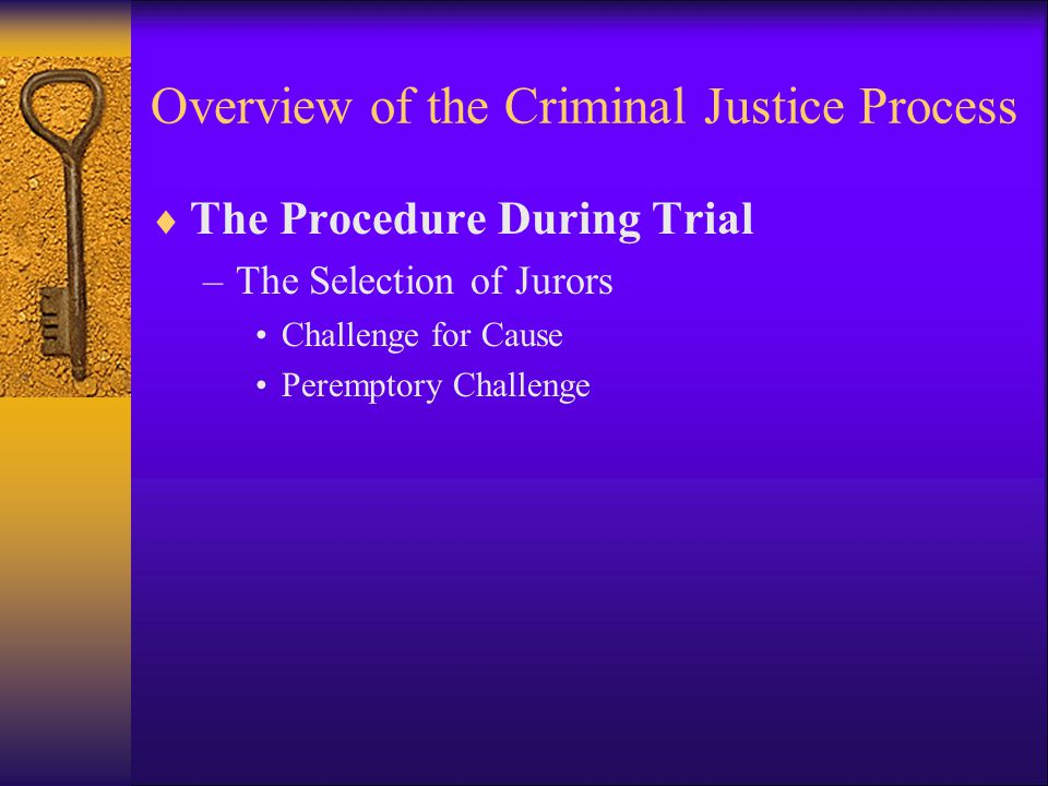 Overview of the Criminal Justice Process  The Procedure During Trial –The Selection of Jurors Challenge for Cause Peremptory Challenge