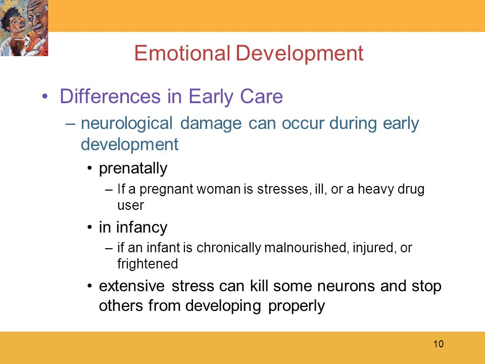 10 Emotional Development Differences in Early Care –neurological damage can occur during early development prenatally –If a pregnant woman is stresses, ill, or a heavy drug user in infancy –if an infant is chronically malnourished, injured, or frightened extensive stress can kill some neurons and stop others from developing properly