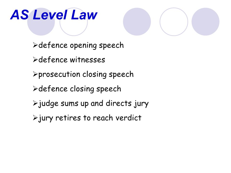 AS Level Law  defence opening speech  defence witnesses  prosecution closing speech  defence closing speech  judge sums up and directs jury  jury retires to reach verdict