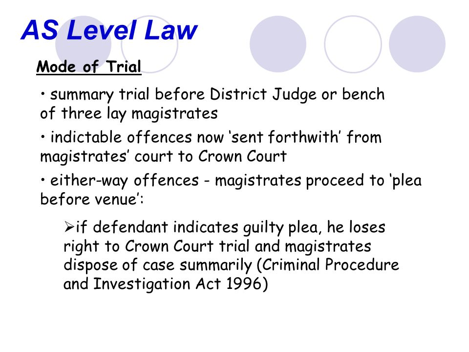 AS Level Law Mode of Trial summary trial before District Judge or bench of three lay magistrates indictable offences now 'sent forthwith' from magistrates' court to Crown Court either-way offences - magistrates proceed to 'plea before venue':  if defendant indicates guilty plea, he loses right to Crown Court trial and magistrates dispose of case summarily (Criminal Procedure and Investigation Act 1996)