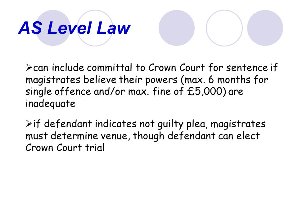 AS Level Law  can include committal to Crown Court for sentence if magistrates believe their powers (max.