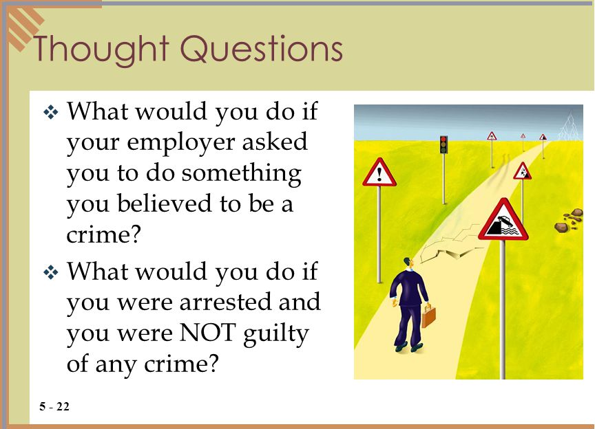 Thought Questions  What would you do if your employer asked you to do something you believed to be a crime.