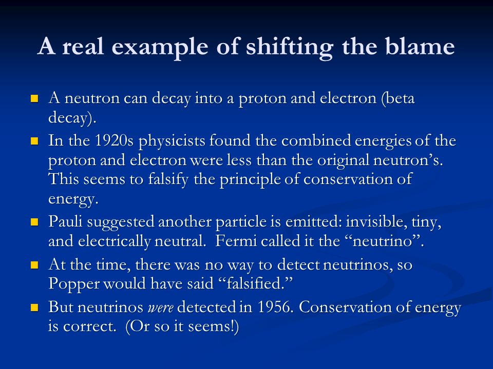 A real example of shifting the blame A neutron can decay into a proton and electron (beta decay).