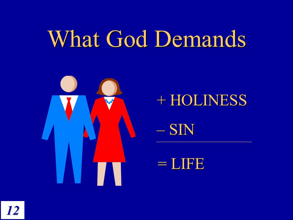 12 What God Demands + HOLINESS – SIN = LIFE