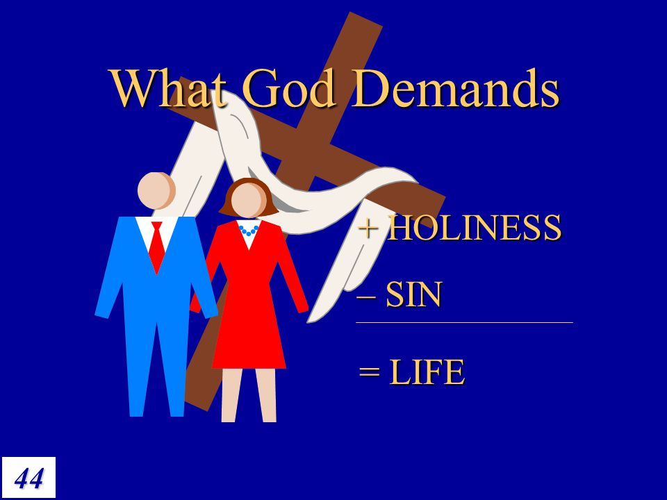 44 What God Demands + HOLINESS – SIN = LIFE