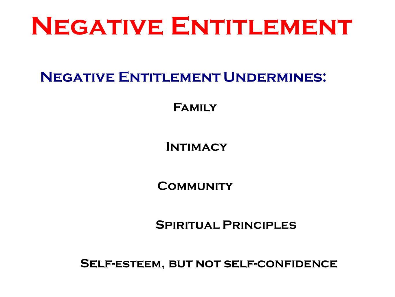 Negative Entitlement Undermines: Negative Entitlement Family Intimacy Community Spiritual Principles Self- esteem, but not self-confidence