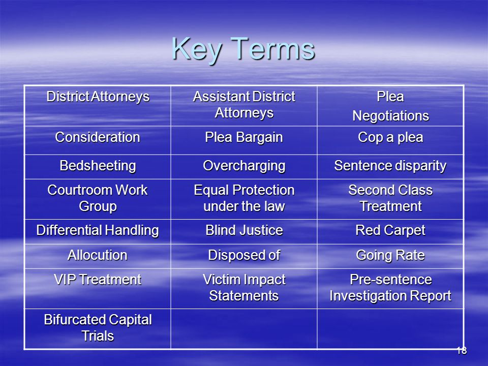 18 Key Terms District Attorneys Assistant District Attorneys PleaNegotiations Consideration Plea Bargain Cop a plea BedsheetingOvercharging Sentence disparity Courtroom Work Group Equal Protection under the law Second Class Treatment Differential Handling Blind Justice Red Carpet Allocution Disposed of Going Rate VIP Treatment Victim Impact Statements Pre-sentence Investigation Report Bifurcated Capital Trials