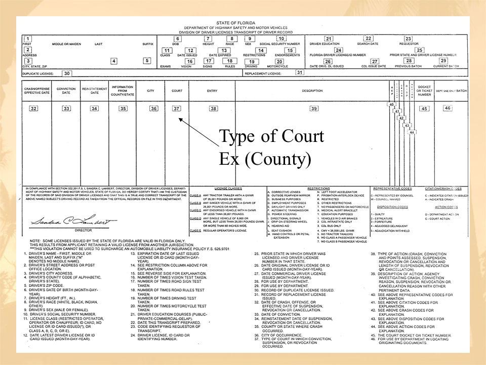 Type of Court Ex (County)