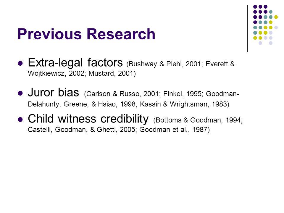 Previous Research Extra-legal factors (Bushway & Piehl, 2001; Everett & Wojtkiewicz, 2002; Mustard, 2001) Juror bias (Carlson & Russo, 2001; Finkel, 1995; Goodman- Delahunty, Greene, & Hsiao, 1998; Kassin & Wrightsman, 1983) Child witness credibility (Bottoms & Goodman, 1994; Castelli, Goodman, & Ghetti, 2005; Goodman et al., 1987)