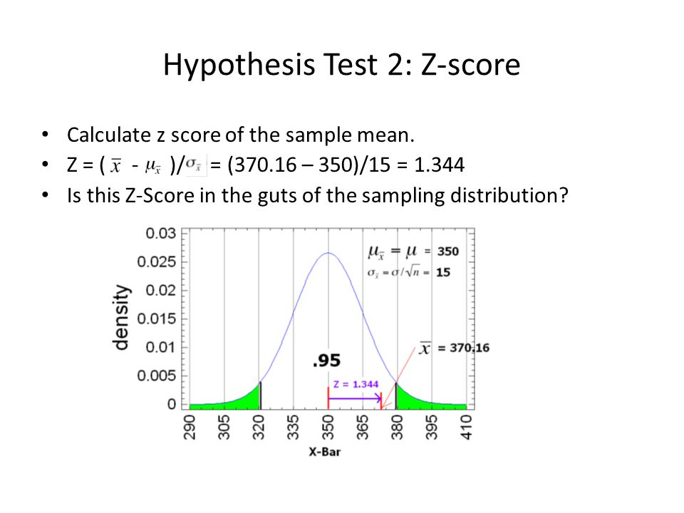 Hypothesis Test 2: Z-score Calculate z score of the sample mean. Z = ( - )/ = (370.16 – 350)/15 = 1.344 Is this Z-Score in the guts of the sampling di