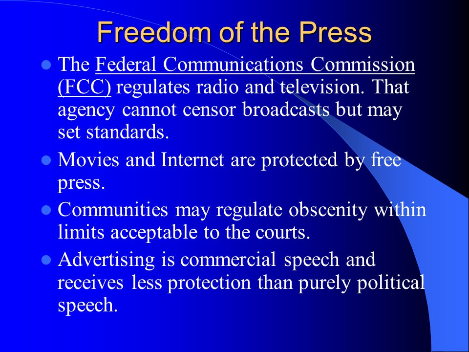 Freedom of the Press Prior restraint, or censorship in advance, is permissible only in cases directly related to national security. Gag orders barring