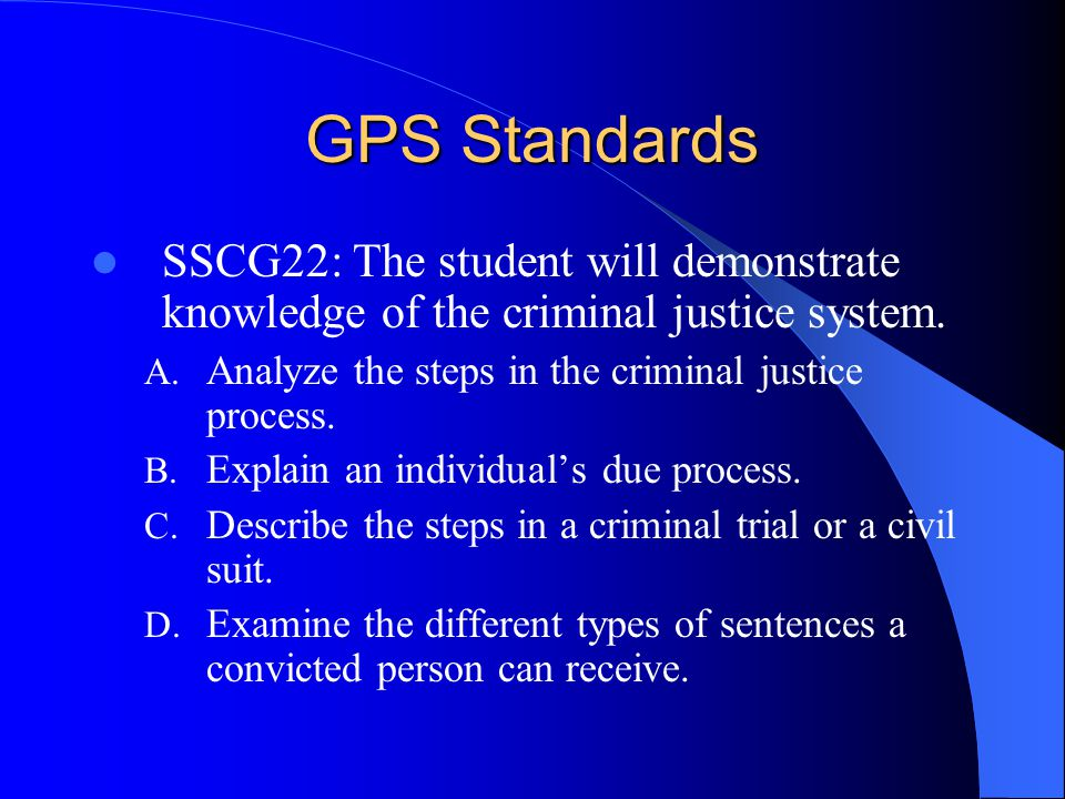 GPS Standards SSCG21: The student will demonstrate knowledge of criminal activity. A. Examine the nature and causes of crimes B. Explain the effects c
