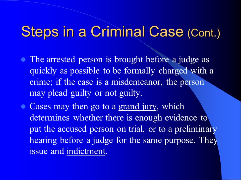 Steps in a Criminal Case The prosecutor, or government lawyer responsible for bringing a criminal charge, must prove beyond a reasonable doubt to a ju