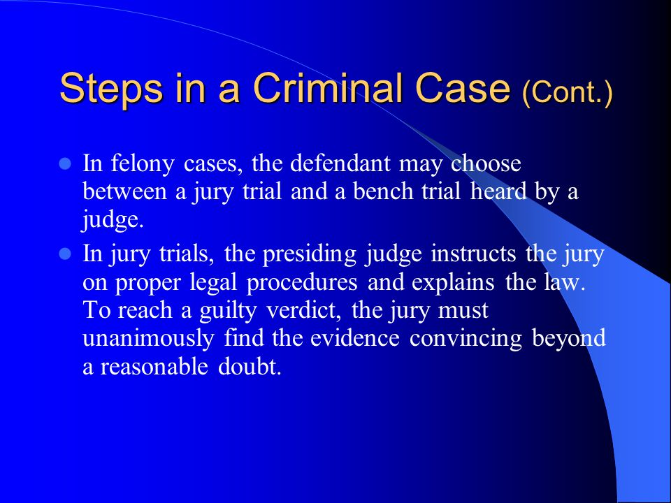 Steps in a Criminal Case (Cont.) After a grand jury indictment or a preliminary hearing, a judge reads the formal charge at an arraignment held in an