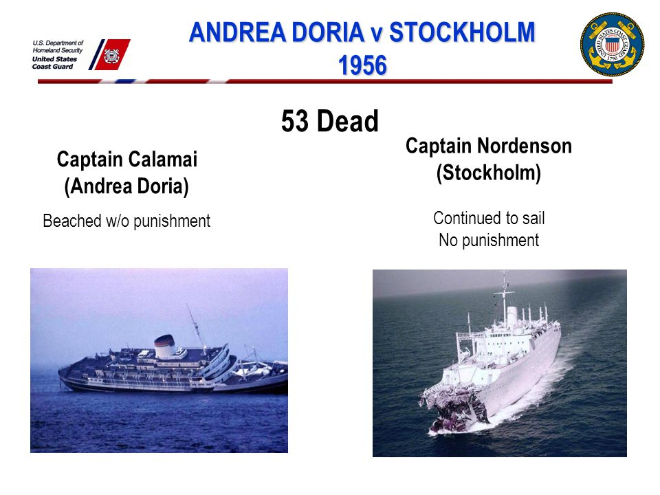 ANDREA DORIA v STOCKHOLM 1956 Captain Calamai (Andrea Doria) Beached w/o punishment Captain Nordenson (Stockholm) Continued to sail No punishment 53 Dead