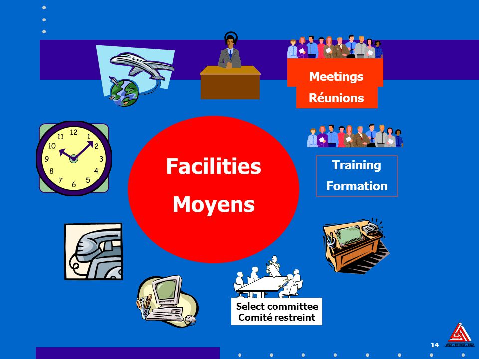 14 Facilities Moyens Meetings Réunions Select committee Comité restreint Training Formation