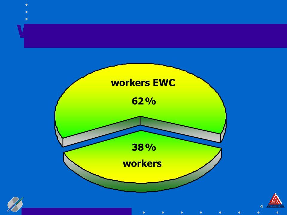 4 workers 38 % workers EWC 62 % Workers represented in EWC