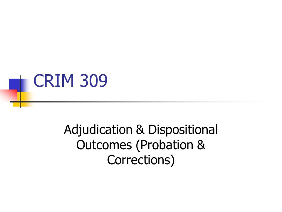 CRIM 309 Adjudication & Dispositional Outcomes (Probation & Corrections)