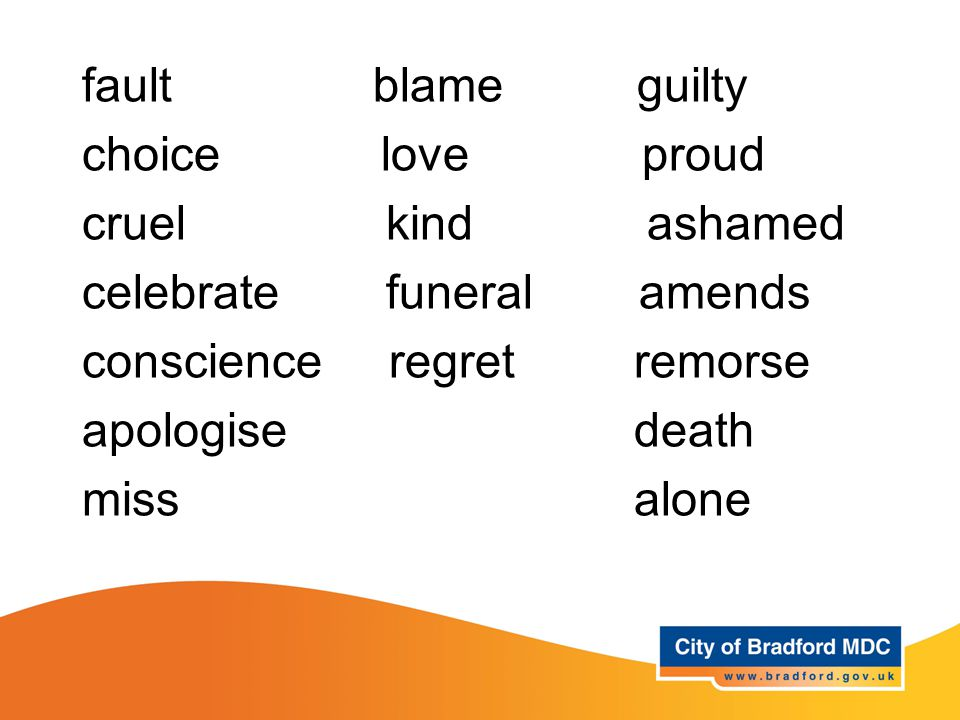 Key vocabulary – Years 3 and 4 fault blame guilty choice love proud cruel kind ashamed celebrate funeral amends conscience regret remorse apologise death miss alone