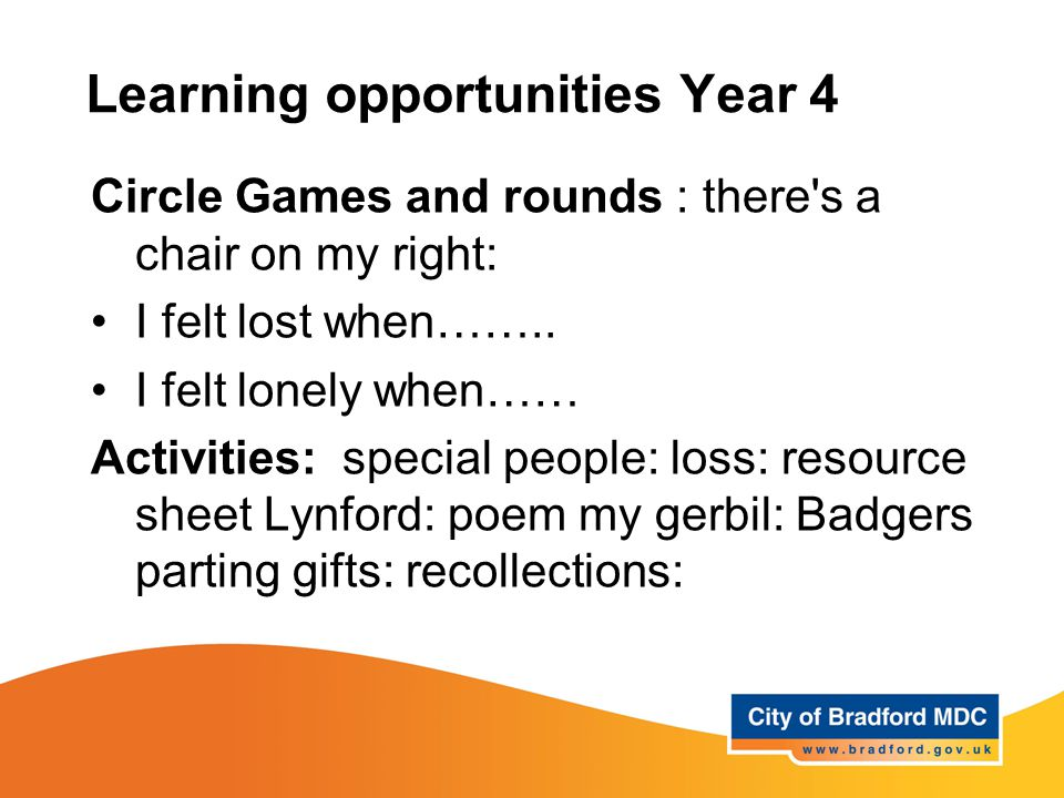 Learning opportunities Year 4 Circle Games and rounds : there s a chair on my right: I felt lost when……..