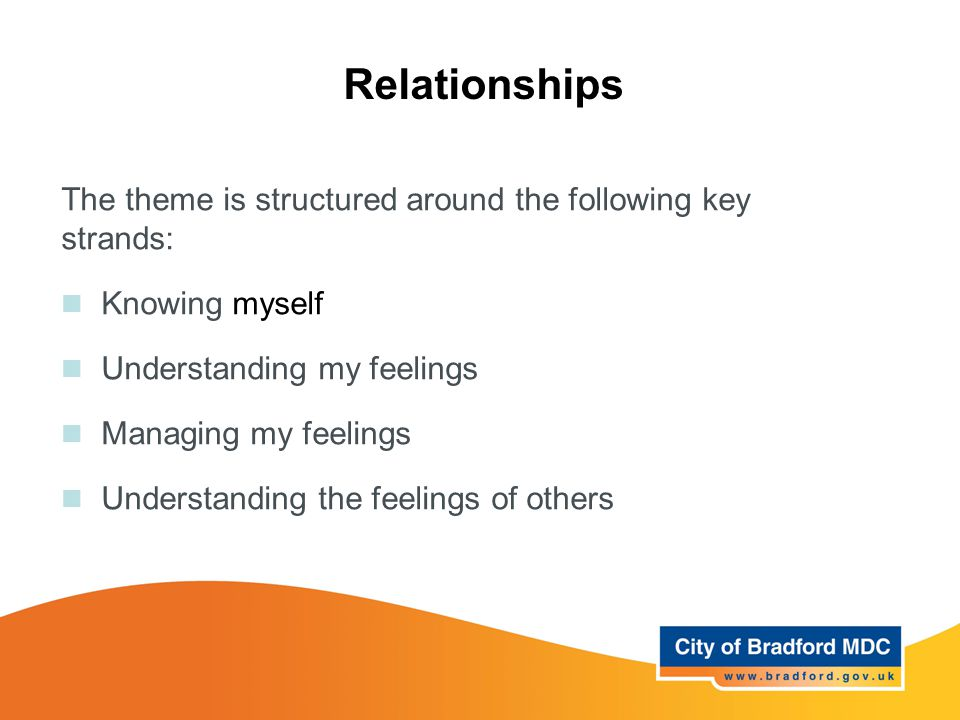 Relationships The theme is structured around the following key strands: Knowing myself Understanding my feelings Managing my feelings Understanding th