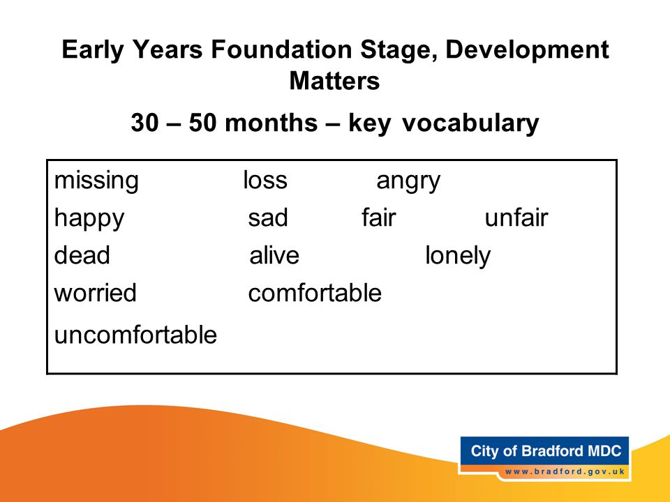 Early Years Foundation Stage, Development Matters 30 – 50 months – key vocabulary missing loss angry happy sad fair unfair dead alive lonely worried comfortable uncomfortable