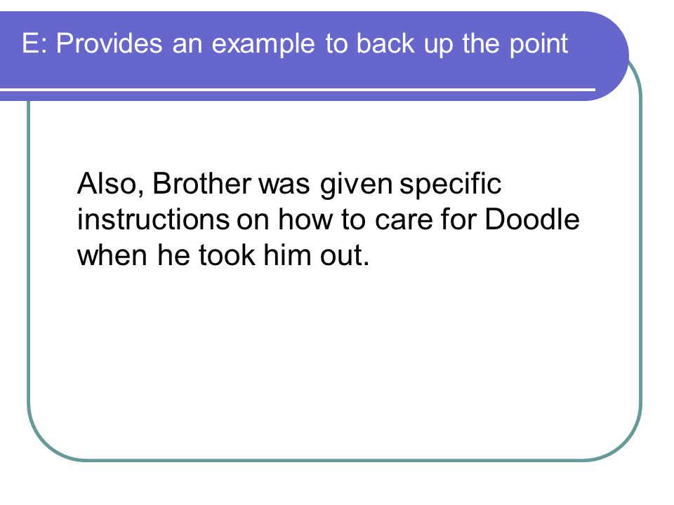 E: Provides an example to back up the point Also, Brother was given specific instructions on how to care for Doodle when he took him out.