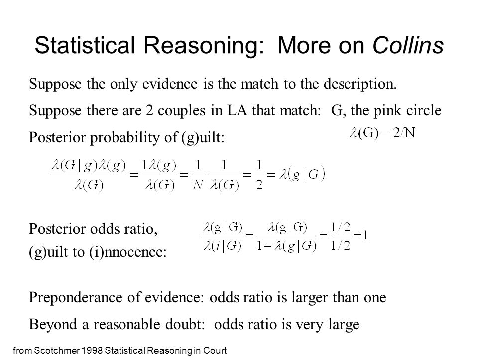 from Scotchmer 1998 Statistical Reasoning in Court Statistical Reasoning: More on Collins Suppose the only evidence is the match to the description. S