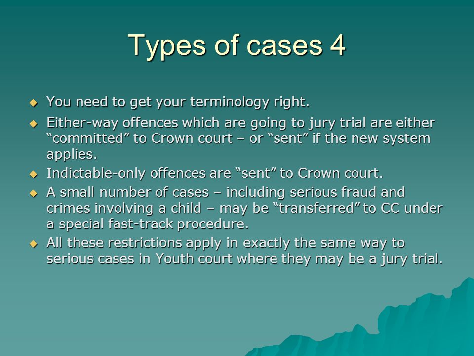 Types of cases 4  You need to get your terminology right.