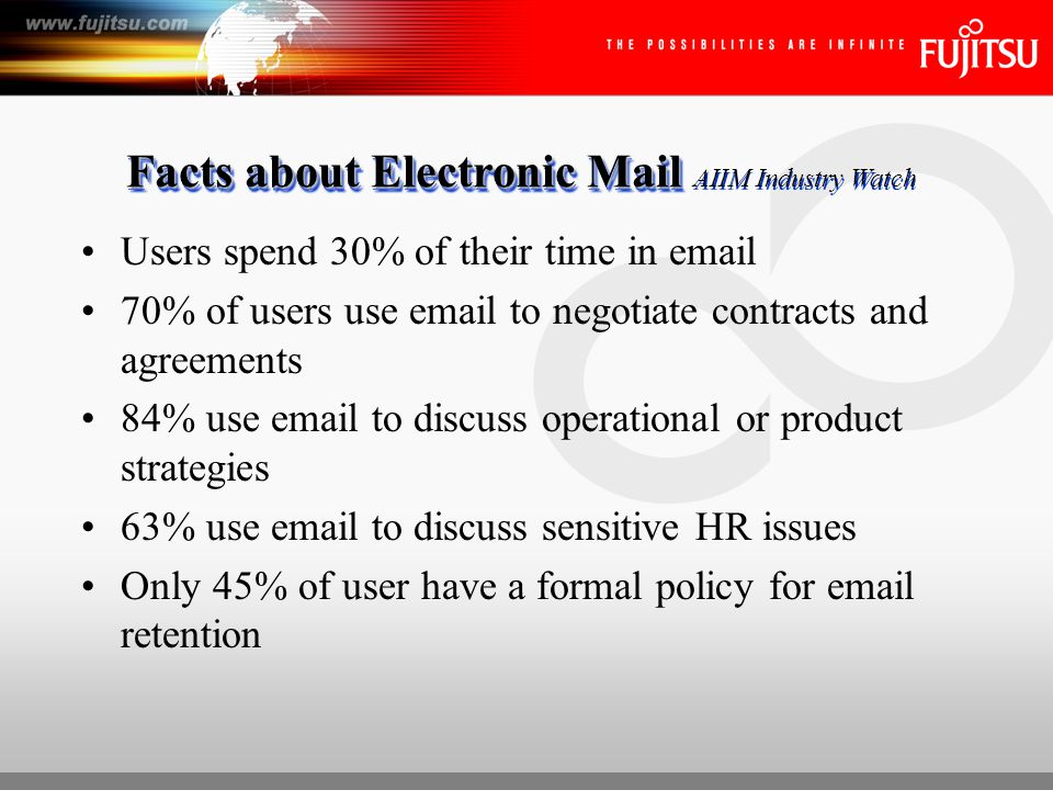 Facts about Electronic Mail Facts about Electronic Mail AIIM Industry Watch Users spend 30% of their time in email 70% of users use email to negotiate contracts and agreements 84% use email to discuss operational or product strategies 63% use email to discuss sensitive HR issues Only 45% of user have a formal policy for email retention