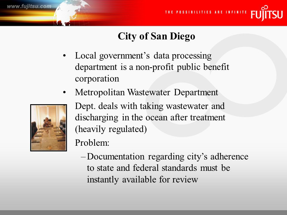 City of San Diego Local government's data processing department is a non-profit public benefit corporation Metropolitan Wastewater Department Dept.