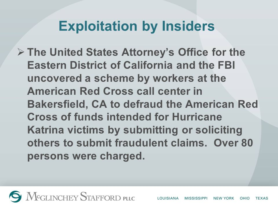 Exploitation by Insiders  The United States Attorney's Office for the Eastern District of California and the FBI uncovered a scheme by workers at the American Red Cross call center in Bakersfield, CA to defraud the American Red Cross of funds intended for Hurricane Katrina victims by submitting or soliciting others to submit fraudulent claims.